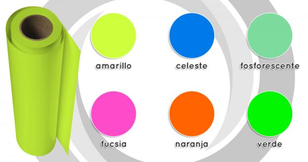 Vinil transfer neón en 6 colores - 1 m x 50 cm
