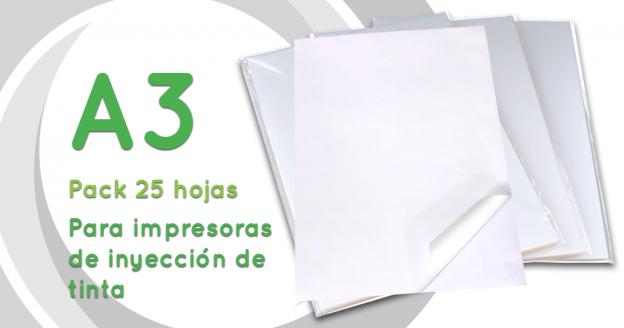 Papel couche adhesivo para impresión Inkjet - A3 90gr - Pack 25 hojas