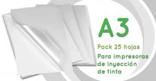 PVC adhesivo blanco y transparente para impresión Inkjet - A3 - Pack 25 hojas
